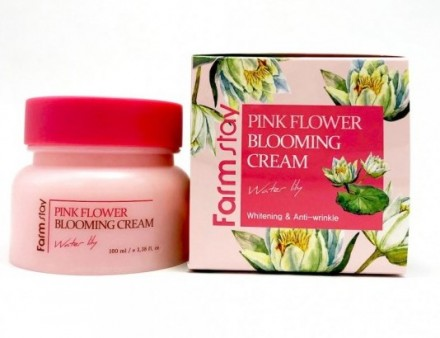 Крем с экстрактом водяной лилии FARMSTAY Pink flower blooming cream water lily 100 мл: фото