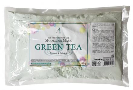 Маска альгинатная с зеленым чая успокаивающая Anskin Green Tea Modeling 240г: фото