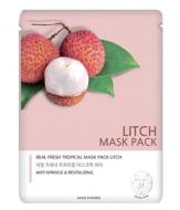 Маска тканевая с экстрактом личи JUNGNANI REAL FRESH TROPICAL MASK LITCH 25мл: фото