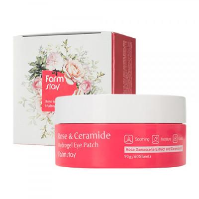 Патчи гидрогелевые с экстрактом дамасской розы и керамидами Farmstay Rose & Ceramide Hydrogel Eye Patch 60шт: фото