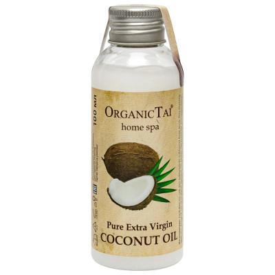 Чистое кокосовое масло холодного отжима для тела и волос OrganicTai, 100 мл: фото