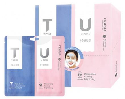 Маска с розовой и черной глиной для комбинированной кожи Frudia My Orchard TU Drawing Mask 7г+7г: фото