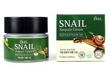 Ампульный крем с улиточным муцином Ekel Ampule Cream Snail 70 мл: фото
