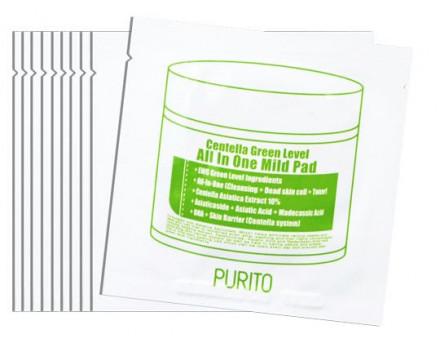 Пилинг-диски с центеллой PURITO Centella Green Level All In One Mild Pad 10шт: фото
