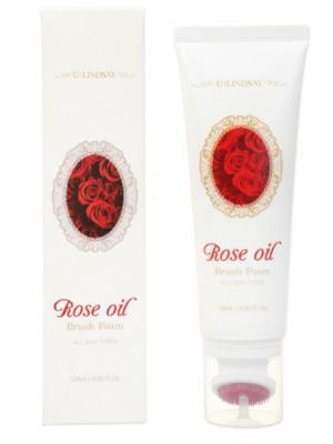 Пенка для умывания с экстрактом розы Lindsay Rose Oil Brush Foam 120мл: фото