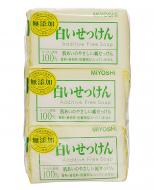 Мыло туалетное на основе натуральных компонентов Miyoshi Additive free soap bar 108г*3шт: фото