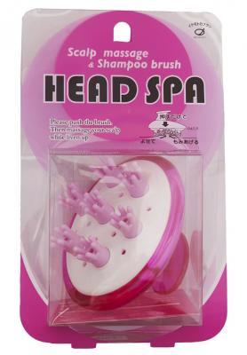 Щетка для массажа кожи головы и мытья волос IKEMOTO Head spa brush розовая: фото