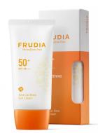 Крем-праймер солнцезащитный с жемчужной пудрой Frudia Tone up base sun cream SPF50+ PA+++ 50мл: фото