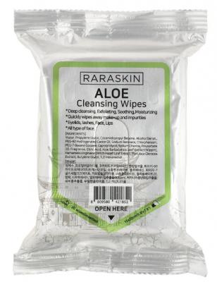 Салфетки для лица очищающие с экстрактом алоэ Raraskin Cleansing wipes aloe 30шт: фото