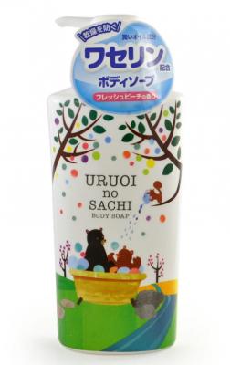 Мыло для тела жидкое с ароматом персика MAX Uruoi no sachi body soap 450мл: фото