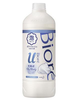 Мыло-пенка для душа с освежающим ароматом KAO Biore u foaming body wash pure savon запасной блок 450мл: фото